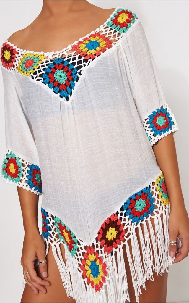 White Multicoloured Crochet Cover Up by The Fashion Bible