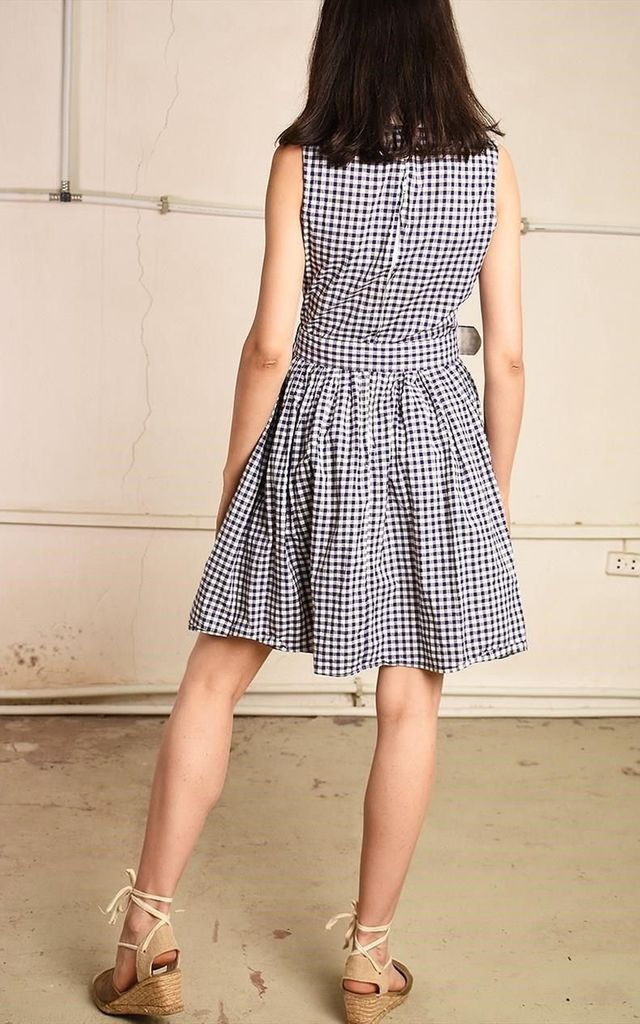 80's retro tartan checked Paris chic midi tea dress by Lover