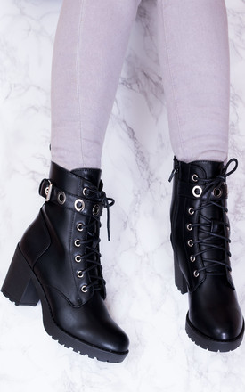 KILA Lace Up Block Heel Ankle Boots Shoes - Black Leather Style by SpyLoveBuy