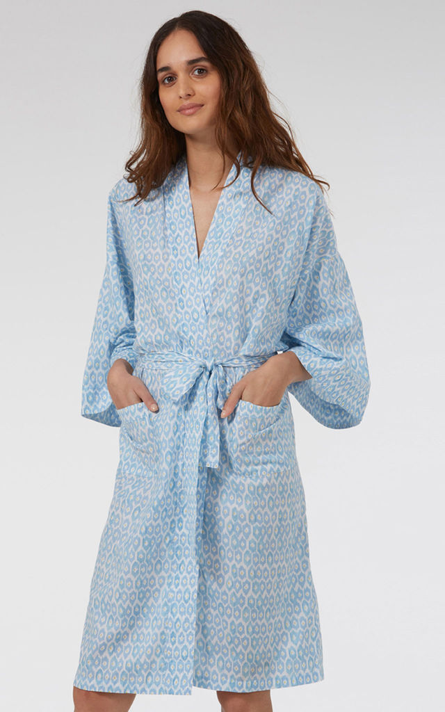 Blue Hexagon Kimono by Caro London