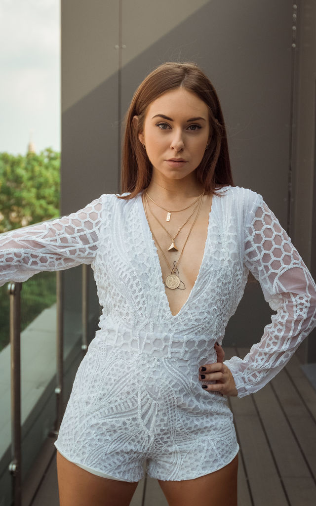 Sequin Playsuit by ELLDXN LONDON