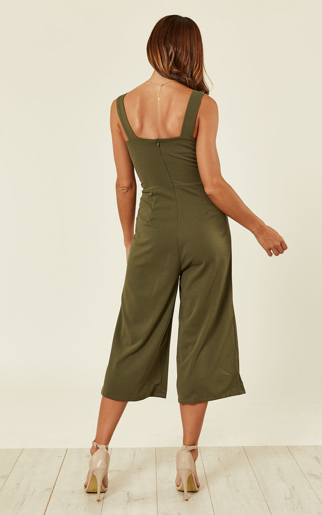 Plunge Neck  Culottes in Khaki Green by WalG