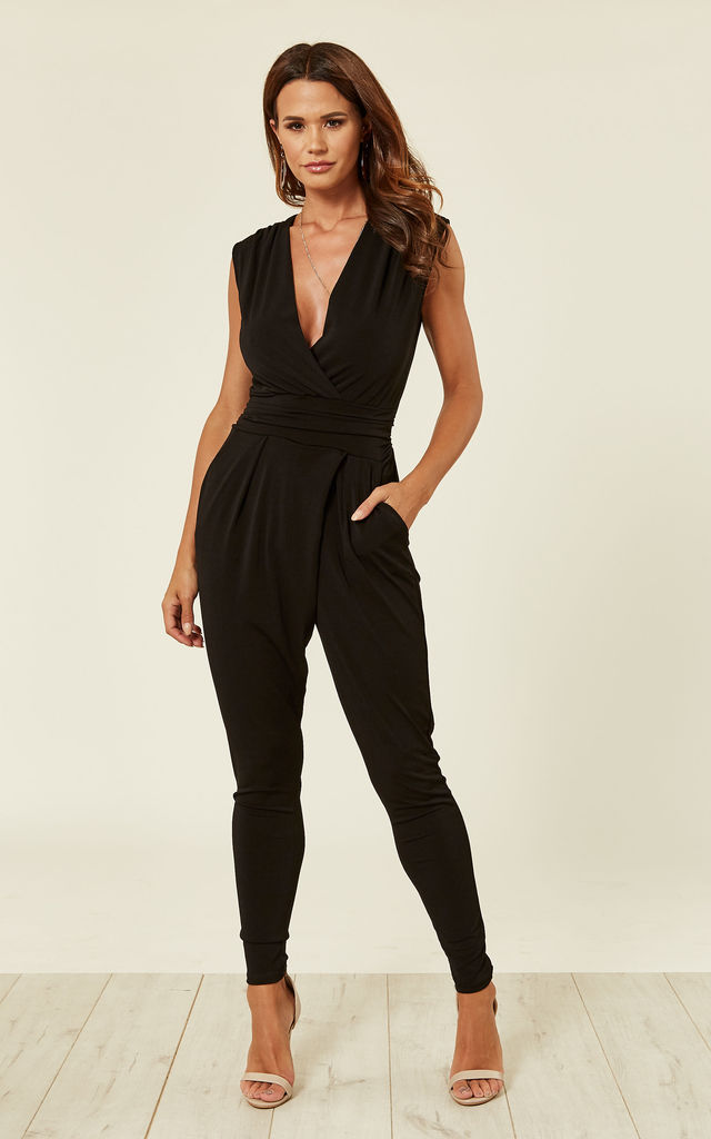 70c20b7ff0 Black Stretch Wrap Non Crease Jumpsuit by WalG