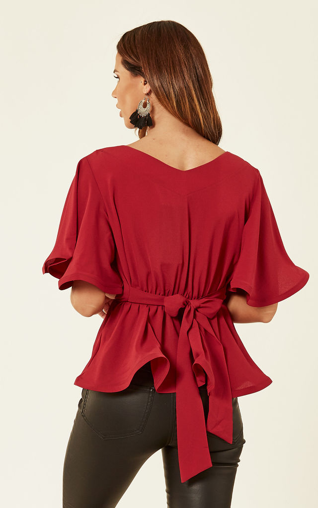 Red Peplum Blouse by Oeuvre