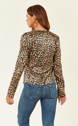 Leopard Print Tie Front Top by Oeuvre