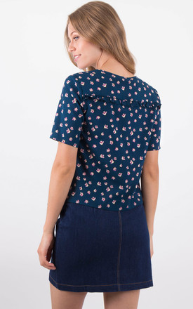 Floral Print Fril Detail Round Neck Front Tie Tops by MISSTRUTH