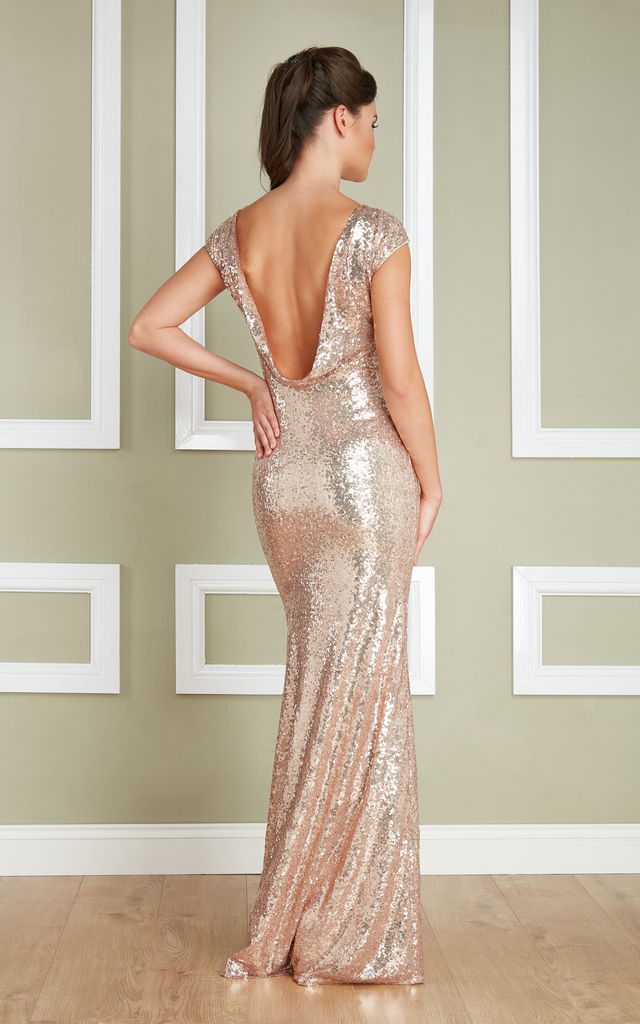 7357970c4 Open Back Sequin Occasion Maxi Dress In Champagne