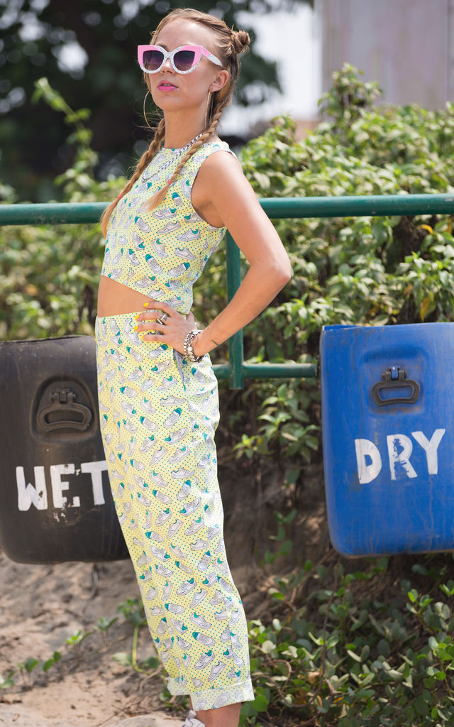 Jo Crop & Angela Baggy Trousers Yellow Sneaker Print Co-Ords by Krissyfied Boutique