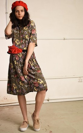 80's retro pinafore floral print festival midi dress by Lover