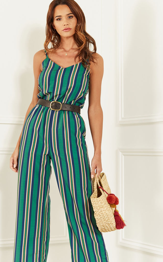 Green Stripe Wide Leg Jumpsuit by Bella and Blue