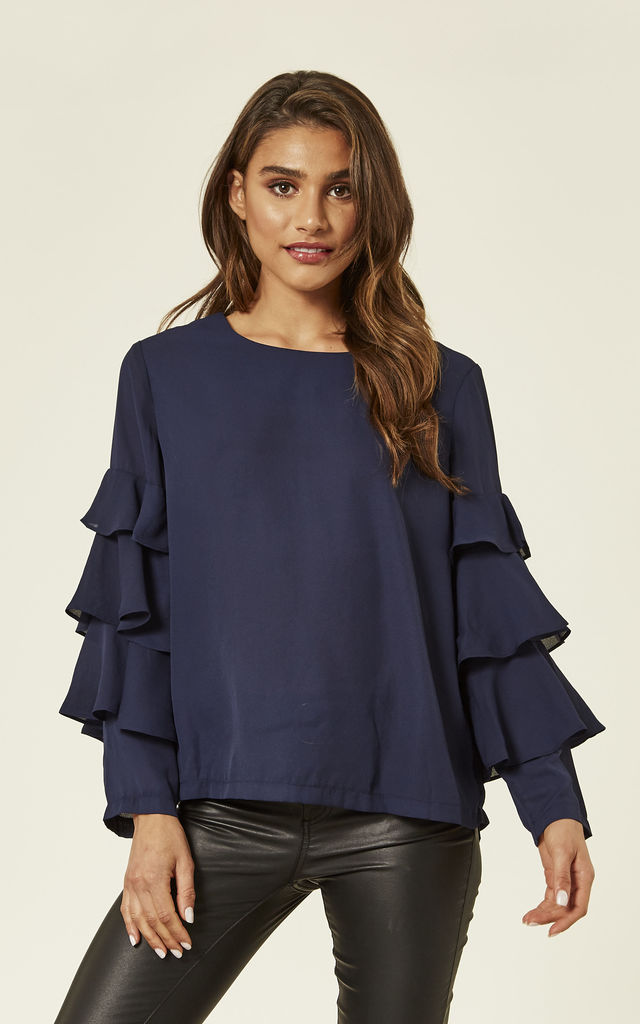 Navy Ruffle Long Sleeve Top by ANGELEYE