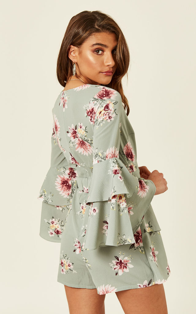 Mint Floral Crepe Frill Playsuit by MISSI LONDON