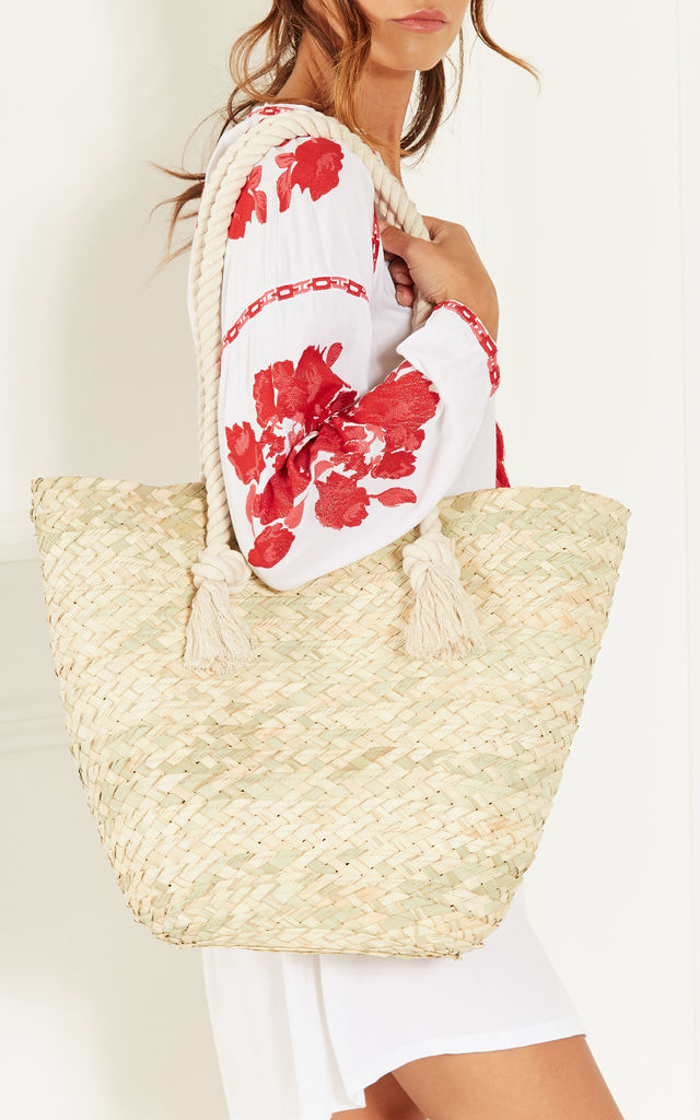 Woven Straw Tote Bag by Bella and Blue