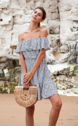 Off Shoulder Frill Speckle Spot Mini Dress by Styled In London Product photo