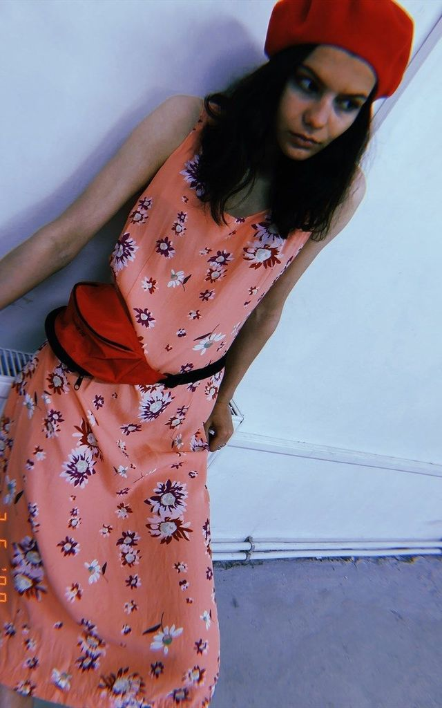 90's retro peach floral print Paris chic midi dress by Lover