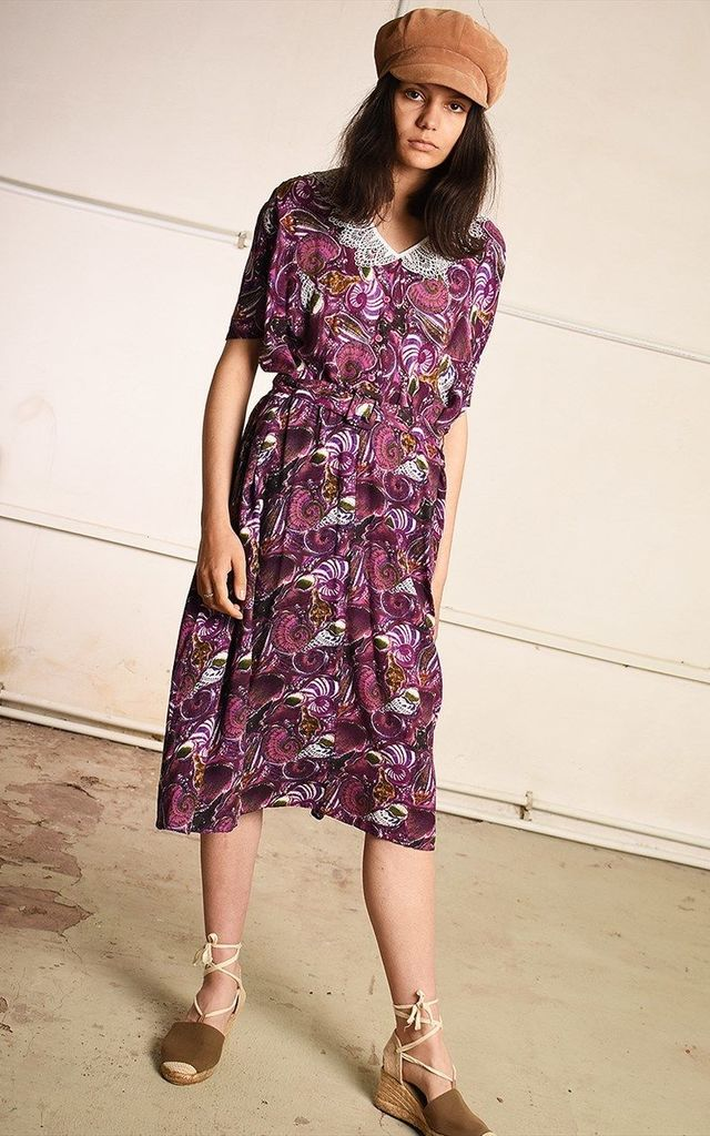 80's retro abstract floral print Paris chic midi tea dress by Lover
