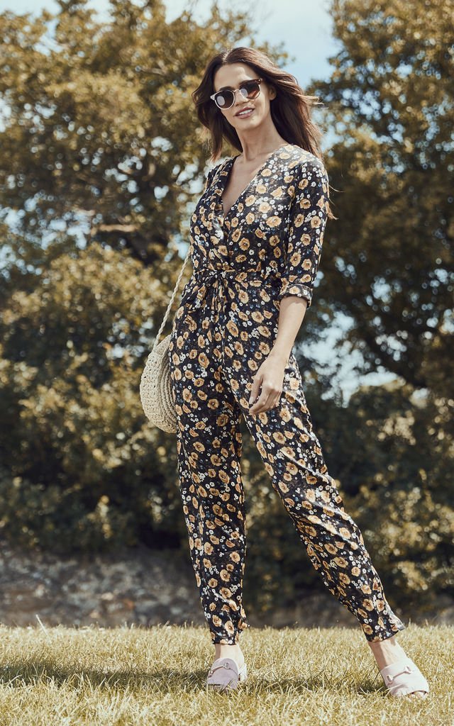 Yellow Floral Jumpsuit by Lilah Rose