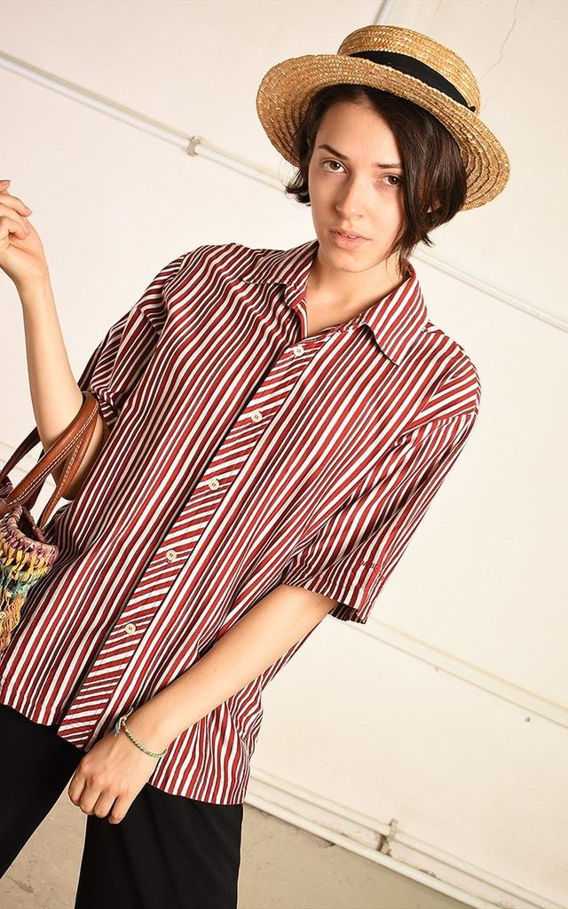90's retro striped minimalist Paris chic blouse top by Lover