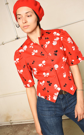 70's retro bow print festival Paris chic blouse top by Lover