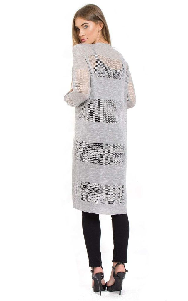 Pale Grey Lightweight Longline Midi Length Knitted Cape Cardigan by Urban Mist