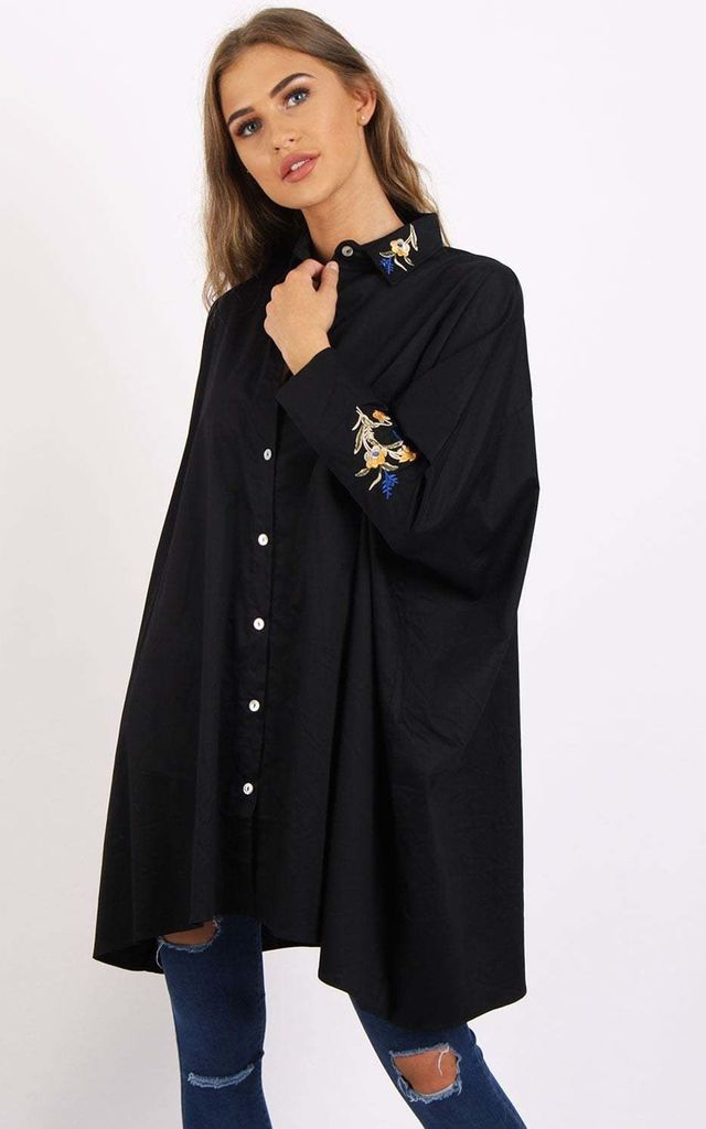 Black Floral Embroidered Batwing Oversized Shirt by Urban Mist