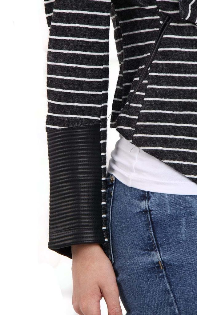 Black Open Front Waterfall Long Sleeve Striped Jacket by Urban Mist