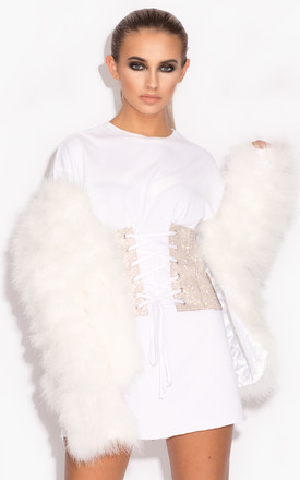 Harper Fluffy Jacket with Satin Lining in White by Karizma