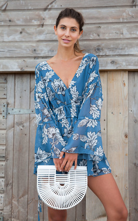 Blue Floral Plunge Neck Oversized Playsuit by Styled In London Product photo