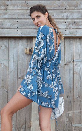 Blue Floral Plunge Neck Oversized Playsuit by Styled In London