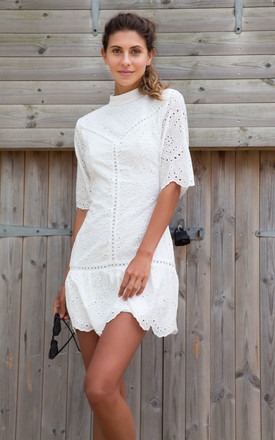 Broderie Anglaise Cotton Short Sleeve Frill Dress In White by Styled In London Product photo