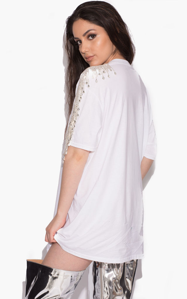 Gaby Crystal Fringe T-shirt Dress In White by Karizma