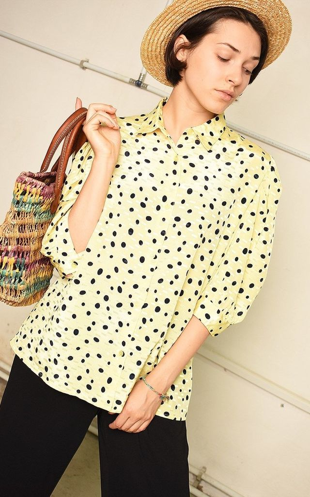 90's retro dotted festival Paris chic blouse top by Lover