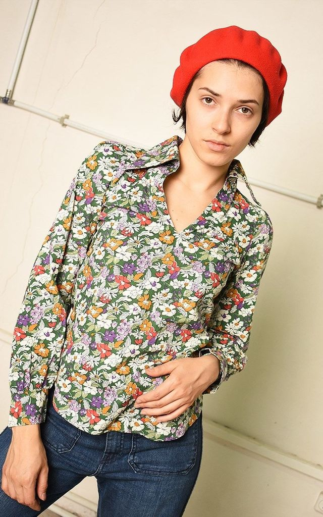 70's retro floral print Paris chic festival blouse top by Lover