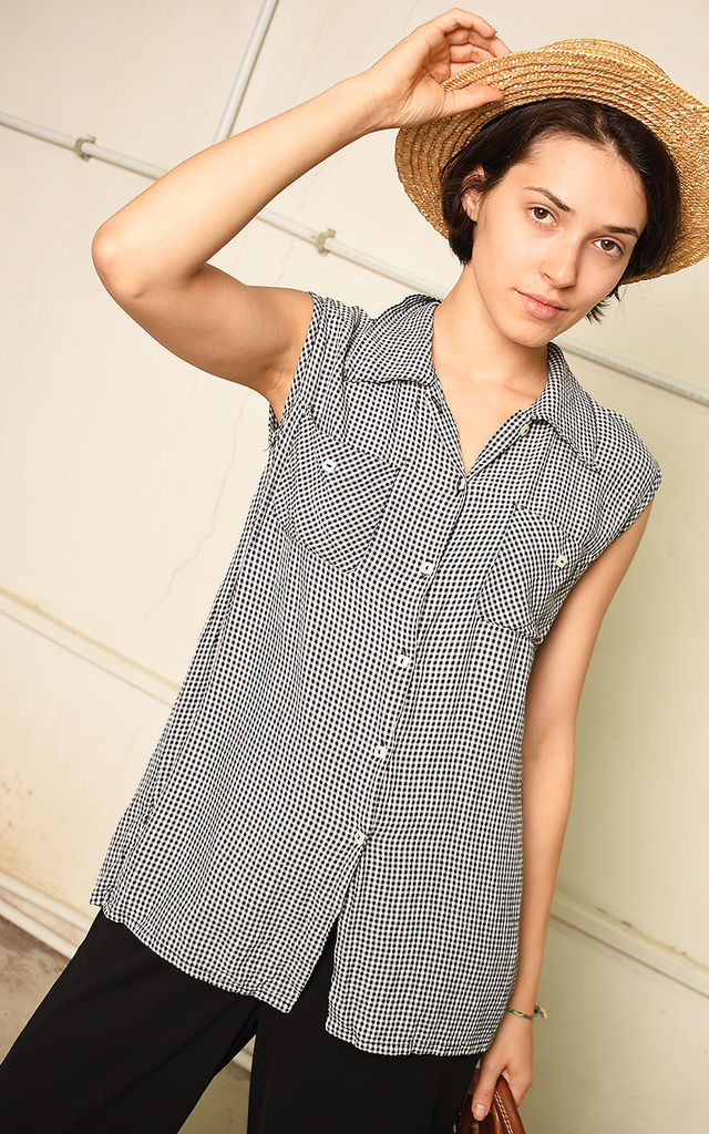 90's retro festival Paris chic checked blouse top by Lover
