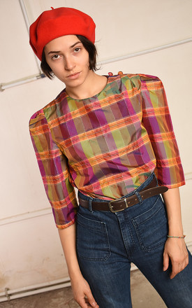 70's retro shimmer checked Paris chic festival blouse top by Lover