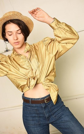 80's retro Paris chic shimmer puff sleeve blouse top by Lover