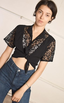 90's retro lace detailed festival Paris chic blouse top by Lover