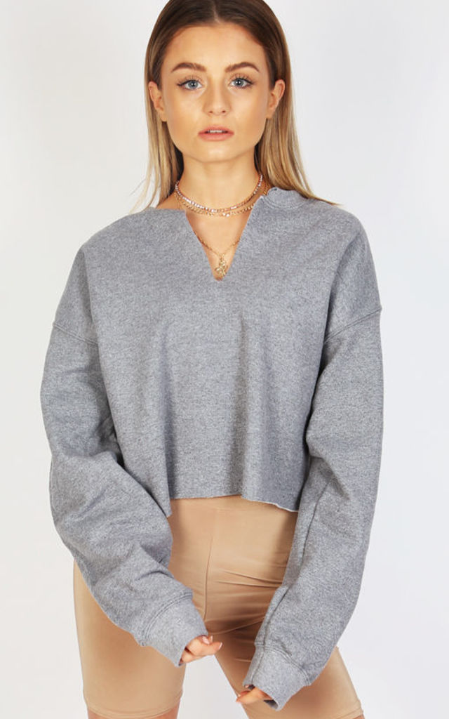 KIM RIPPED CROPPED JUMPER- DUSK by Pharaoh London