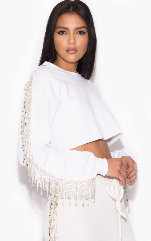 Gabrielle Crystal Fringe Sweatshirt in White by Karizma