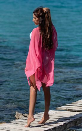 Coral Kaftan With Crystal Back Chain by Natasha Kieran Product photo
