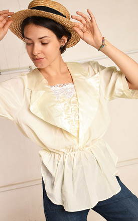 80's retro creamy shimmer Paris chic draped blouse top by Lover