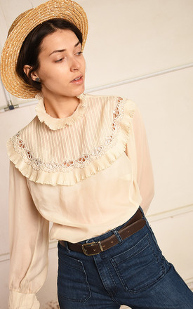80's retro sheer ruffle Paris chic shirt blouse top by Lover