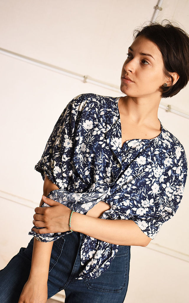 Vintage 90's Oversized Blouse in Blue/Cream Floral Print by Lover