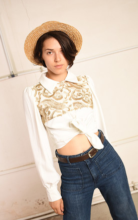 70's retro embroidered Paris chic shirt top by Lover