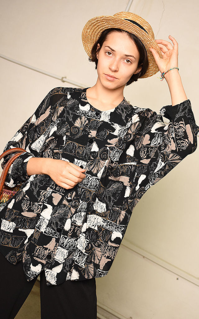 90's retro abstract print oversized Paris chic shirt top by Lover