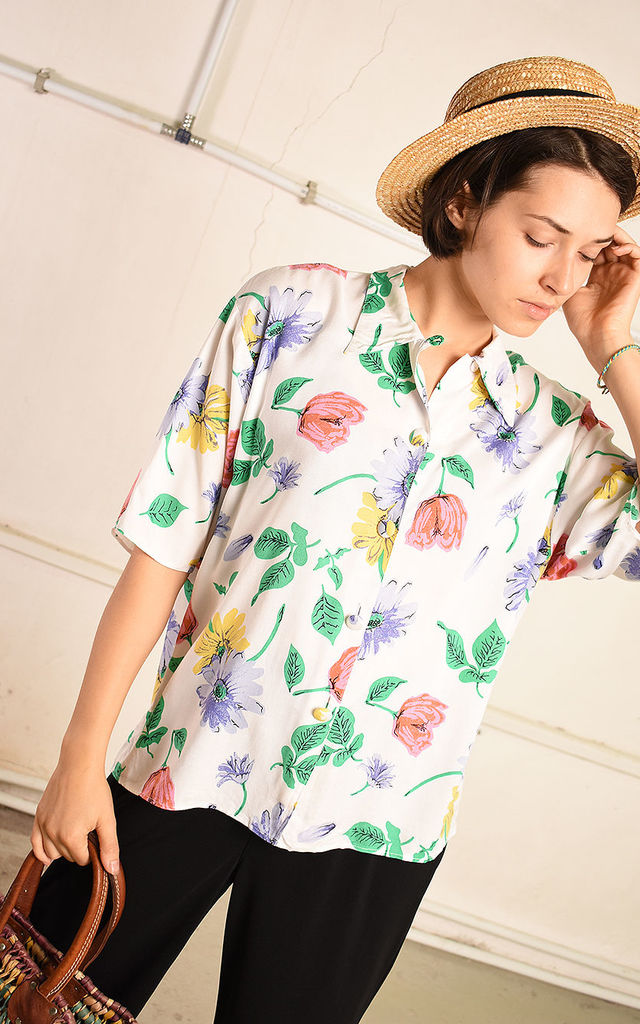 90's retro floral festival Paris chic shirt top by Lover