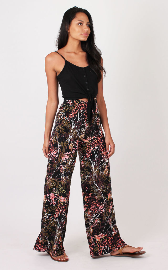 TALL Brown Autumn Print Palazzo Pants TALL by Silver Birch