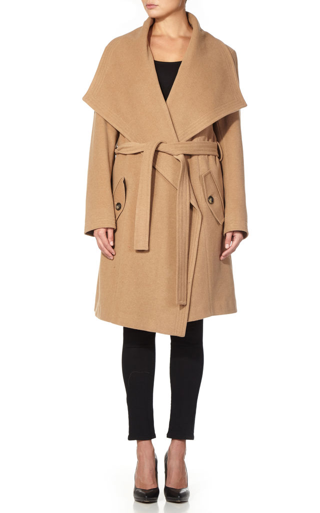 Beverley Camel Large Lapel Duster Coat by De La Creme Fashions