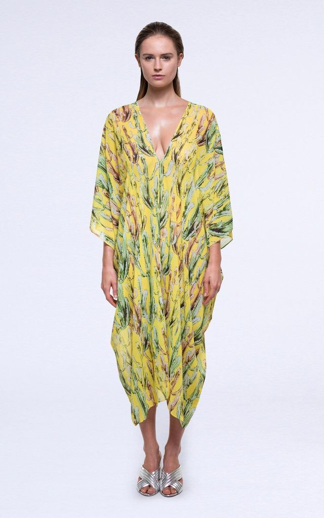 Saffron Maxi Beach Kaftan in Yellow Print by Coco Riko Ibiza