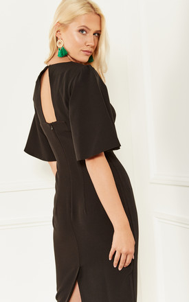 Black Fitted Dress With Flared Sleeves And Cut Out Back Detail by Bella and Blue Product photo